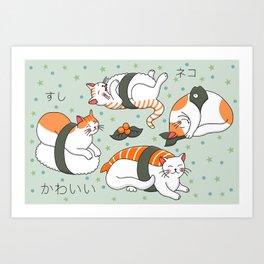 Kawaii Neko Sushi Art Print