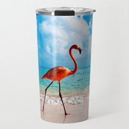 Amazing Awesome Pink Flamingo Walking Along Beach Ultra HD Travel Mug
