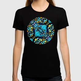Blue Technology Abstract T-shirt