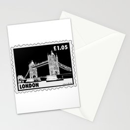 Tower Bridge in London Stamp B&W Stationery Cards