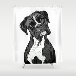 Black and White Boxer Shower Curtain