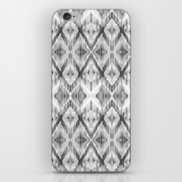 Black and White Watercolour Ikat Pattern iPhone Skin
