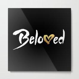 Beloved - White & Gold Metal Print