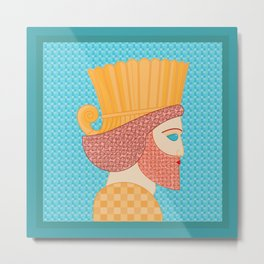 Ancient Persian Warrior Pop Art Metal Print