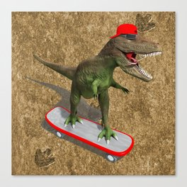 Skateboarding T-Rex Canvas Print