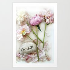 Dreamy Still Life Peonies Botanical Print Home Decor - Peonies Dream Inspirational Home Decor Art Print