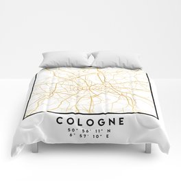 COLOGNE GERMANY CITY STREET MAP ART Comforters