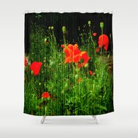 poppies Shower Curtains featuring Poppies by Vitta