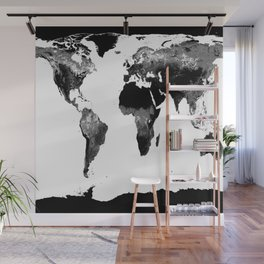 World Map  Black & White Wall Mural