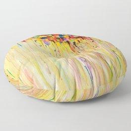 OPPOSITES LOVE Raining Sunshine - Bold Bright Sunny Colorful Rain Storm Abstract Acrylic Painting Floor Pillow