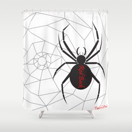 Beware the Red Back Spider from Down Under, not for the faint hearted. Shower Curtain