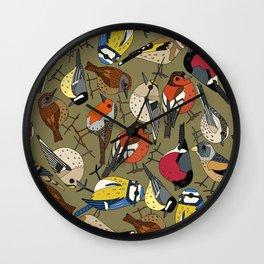 winter garden birds olive Wall Clock