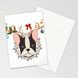 French Bulldog Reindeer Christmas Gift Stationery Cards