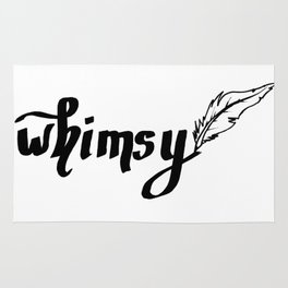 Calligraphy whimsy feather pen black Rug