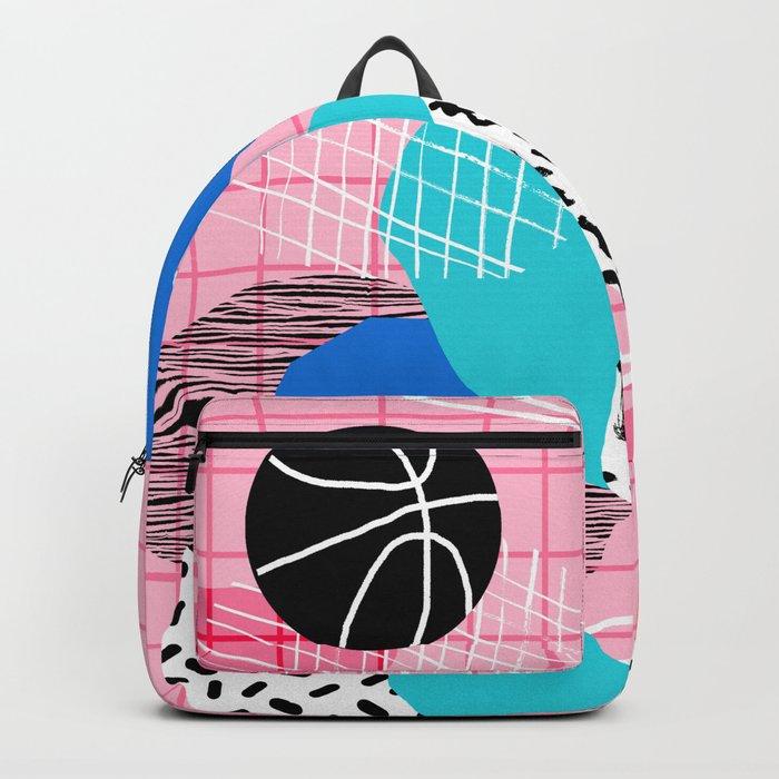 Hot Hand - memphis retro throwback neon grid pattern minimal modern pop art basketball sports Backpack