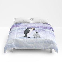 emperor penguins in the snow Comforters