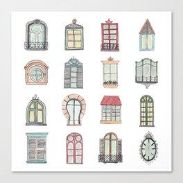 Paris windows watercolor Canvas Print