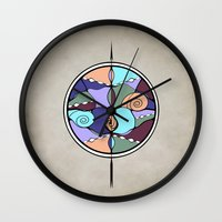 compass Wall Clocks featuring Compass by DebS Digs Photo Art