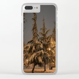 Pine Trees in the Snow Clear iPhone Case