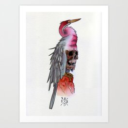 Skull Crane Art Print