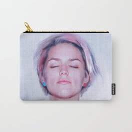 Nude Woman in Lavender, Blue, and Pink Carry-All Pouch