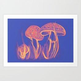 Watercolor of mushrooms in the grass Art Print