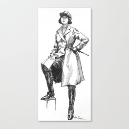 """""""Female Rider in Long Overcoat"""" Canvas Print"""