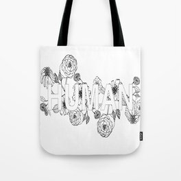 Human Black and White Floral Tote Bag