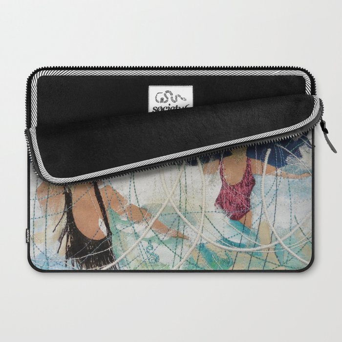 Playing in the surf at Burgh Island by Jackie Wills Laptop Sleeve