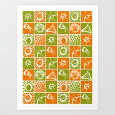 Microscopic Life Sillouetts Orange and Green Art Print