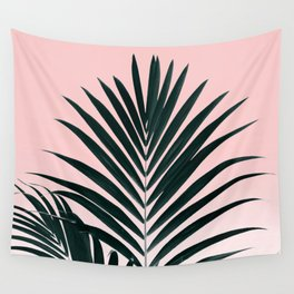Tropical Green palm tree leaf blush pink gradient photography Wall Tapestry