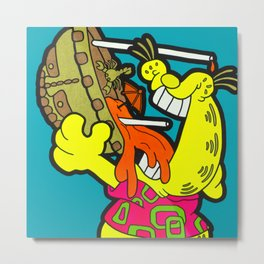 A Reason To Get Out Of Bed - garfield pop art painting Metal Print