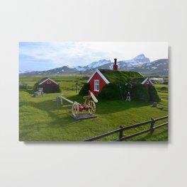 Lindarbakki Turf House in Borgarfjörður-Eystri in East-Iceland Metal Print