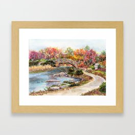 Autumn in Central Park, Manhattan, New York City. A watercolor painting. Framed Art Print