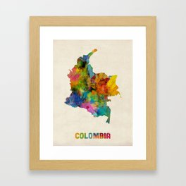 Colombia Watercolor Map Framed Art Print