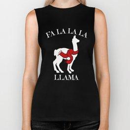 Christmas Llama Santa Scarf Tee Biker Tank