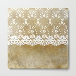The elegant lady- White luxury foral lace on grunge backround Metal Print