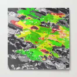 psychedelic splash painting abstract texture in in green yellow black Metal Print
