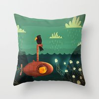 submarine Throw Pillows featuring Submarine by Ilias Sounas