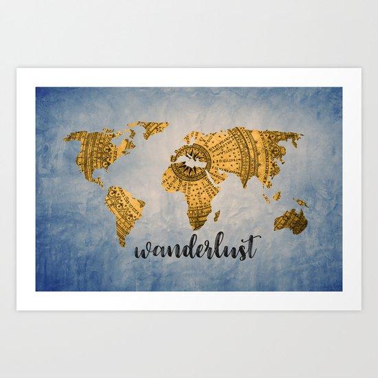 Wanderlust World Map Art Print