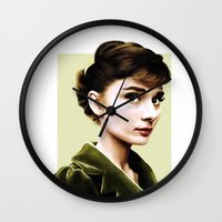 audrey hepburn Wall Clocks featuring Audrey Hepburn by Sophie Eves