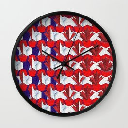 Awesome American to Canadian Flag Pattern! USA vs Canada. Wall Clock