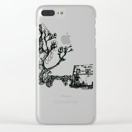 Farm and old wooden fence Clear iPhone Case