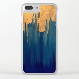 Gold Leaf & Blue Abstract Clear iPhone Case