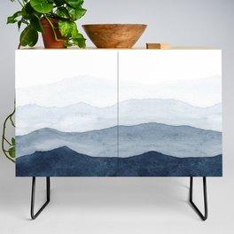 Indigo Abstract Watercolor Mountains Credenza