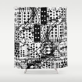 analog synthesizer system - modular black and white Shower Curtain