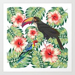 Tropical Birds of Paradise Design 1 Art Print
