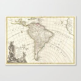 Vintage Map of South America (1762) Canvas Print