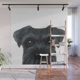 New Black Schnauzer, Dog illustration original painting print Wall Mural