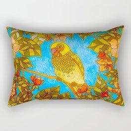 Colourful Yellow Parakeet In Flowery Wreath Rectangular Pillow